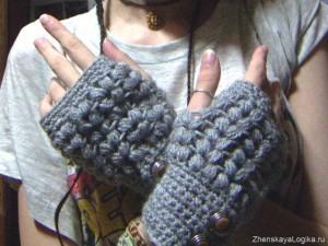 Забавные вязаные перчатки и митенки